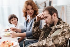 frustrated veteran with family